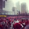 Santas in Battery Park City