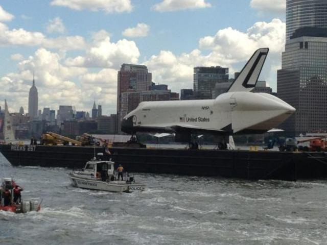Space Shuttle Enterprise with the Empire State Building in the distance