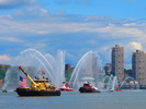 Fireboats spray water to celebrate as Enterprise makes its way up the Hudson