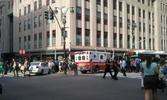 Emergency vehicles responding in front of the Empire State Building