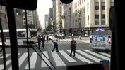 The view from inside a bus at the scene of the shooting