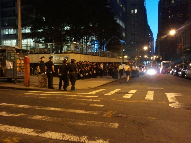 Lines of NYPD officers preparing outside Chase bank this morning