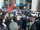 Protesters gathered on sidewalks around Nassau and Pine