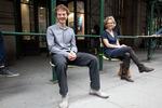 Creators Bland Hoke and Howard Chambers demonstrate Softwalks chairs