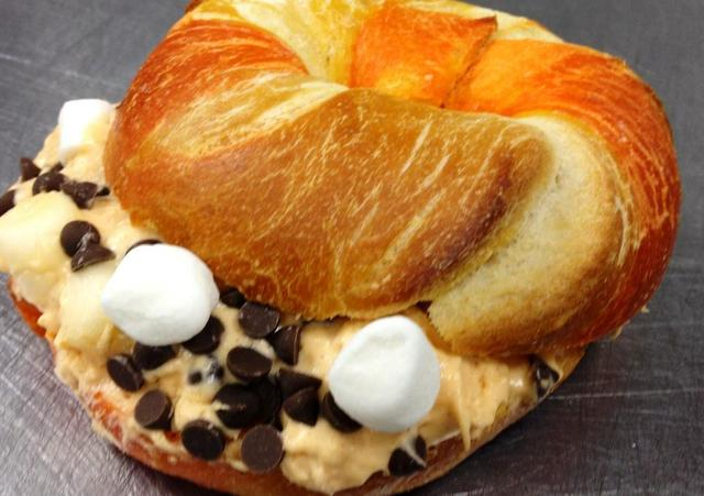 Candy Corn bagel with Marshmallow Chocolate-Chip cream cheese