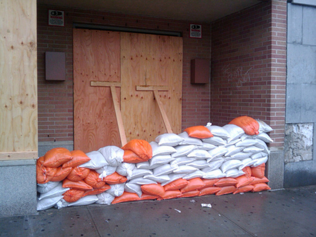 Serious reinforced sandbags from last year's hurricane