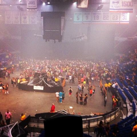 Scene inside Nassau Coliseum after concert is shut down