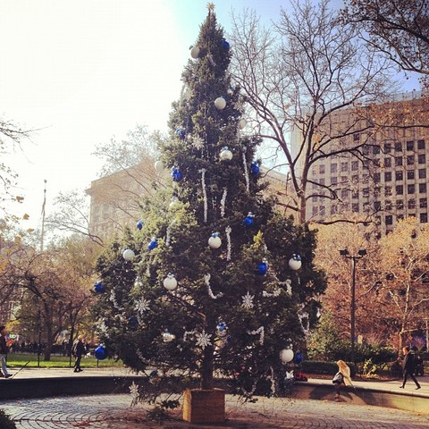 Madison Square Park tree in blue and silver