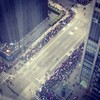 A view from high above of parade crowds