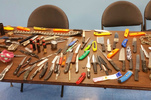 Weapons seized by security officers at five Brooklyn homeless shelters
