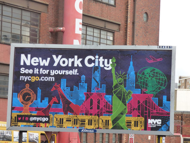 NYC billboard seen in Birmingham, England