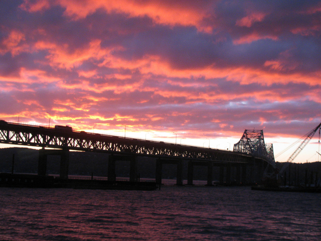Red Sky Over the Tappan Zee
