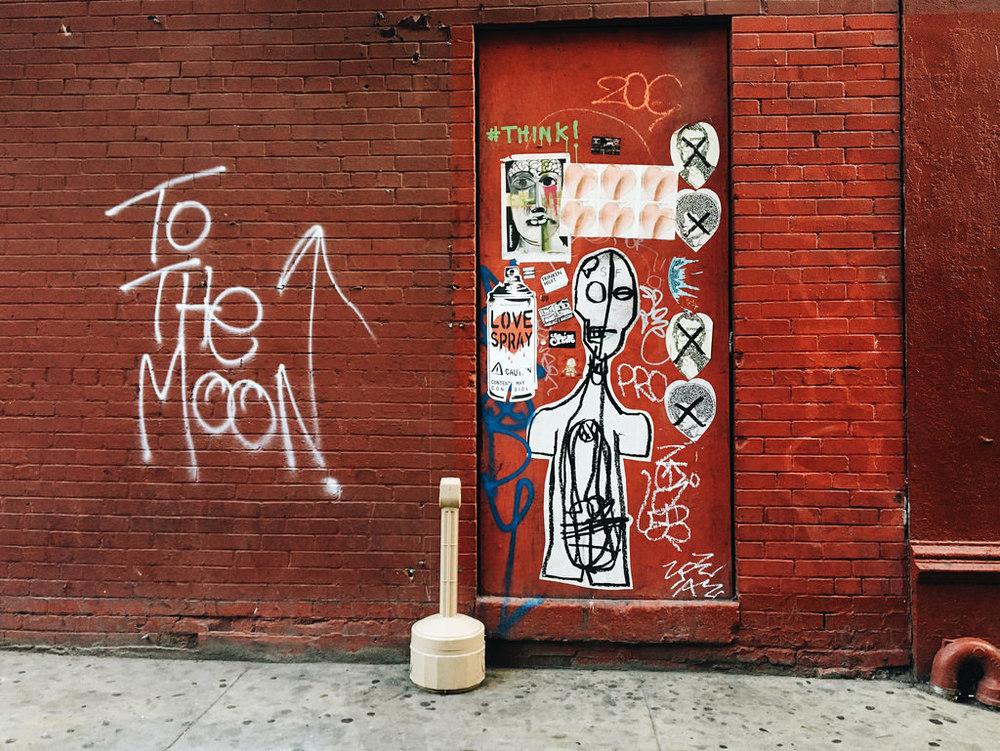 To the moon. New York, NY.