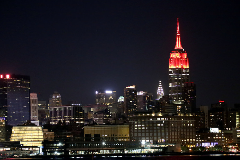 The Empire State Building is lit red in honor of the Fifth Annual Women's Health RUN 10 FEED 10.