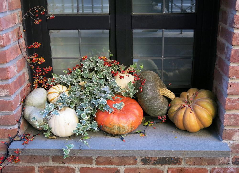 An autumn window ledge display, West 9th Street, Greenwich Village, New York City