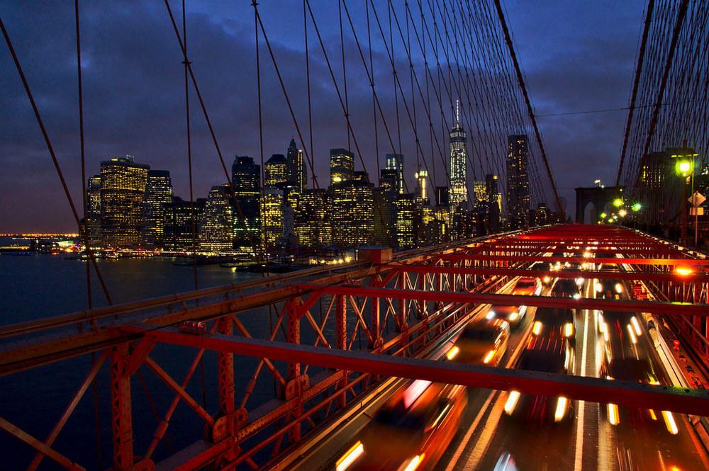 Manhattan desde a ponte de Brooklyn (New York, USA)
