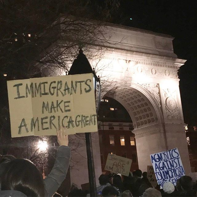 Emergency Rally for Muslim & Immigrant Rights happening now at Washington Sq Park. Gather your people! #NoBanNoWall #ImmigrantNY #HereToStay