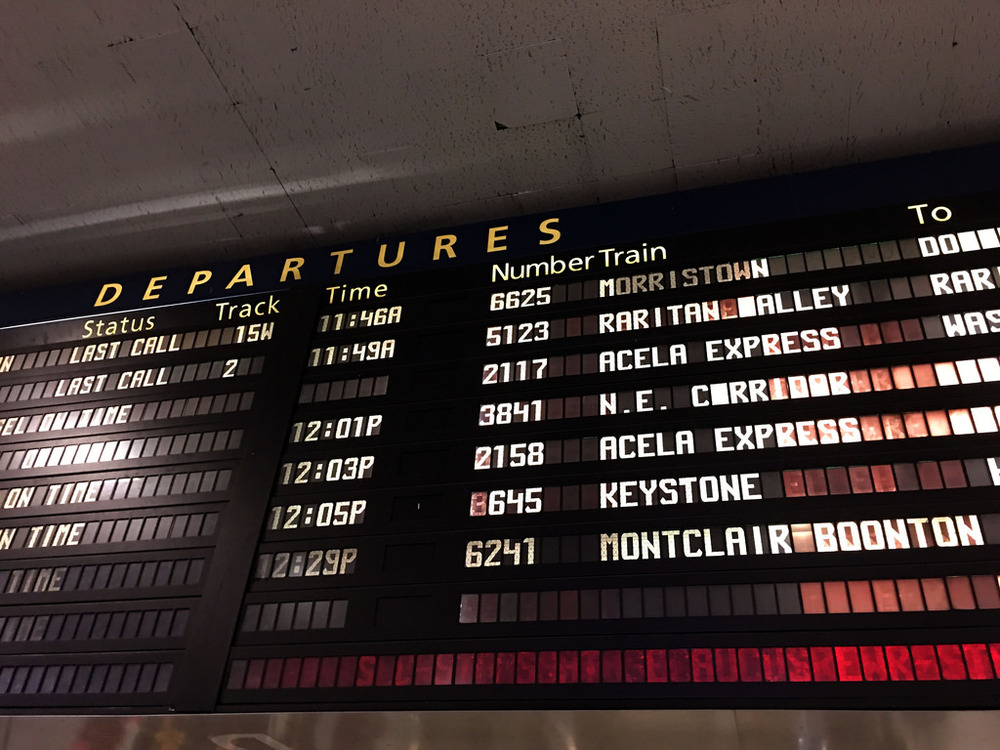Old Amtrak Departure Board, Penn Station, NYC, January 20, 2017. Inauguration Day