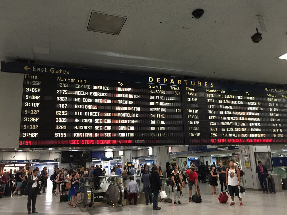 Waiting for the track assignment at Penn Station in NYC so I can head home.