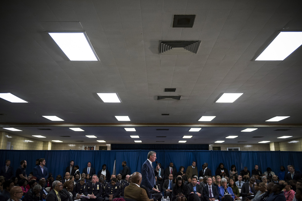Mayor Bill de Blasio hosts a town hall with residents of the 42nd Council District
