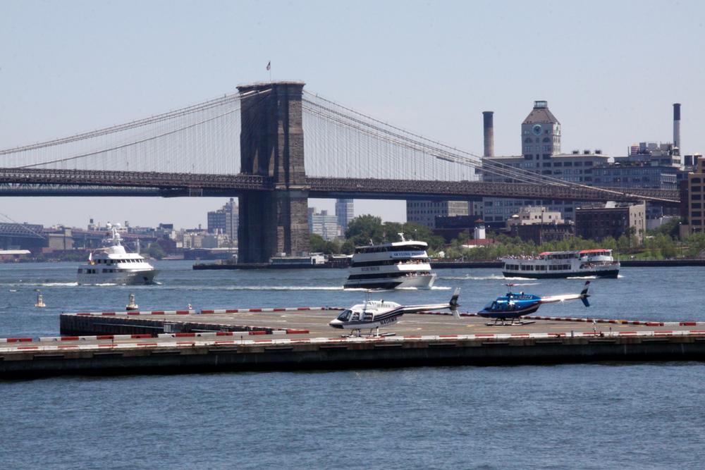 Brooklyn Bridge, Boats, and Helipad - NYC
