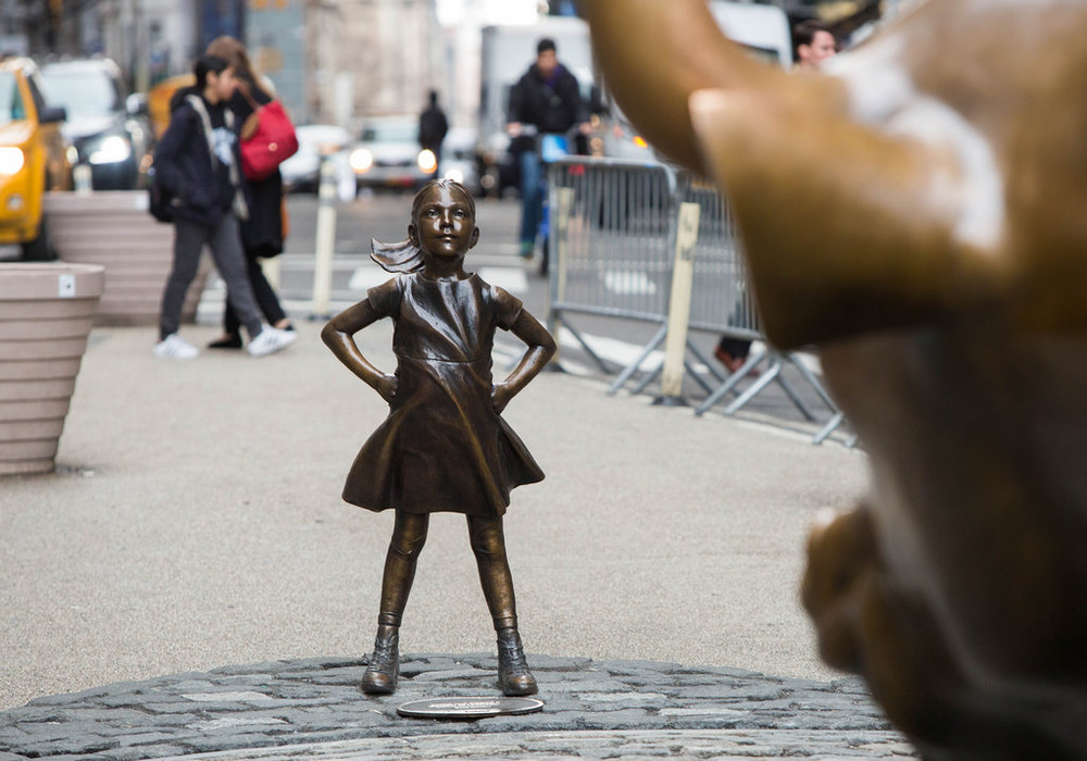 Fearless Girl Statue Charging Bull Wall Street New York City