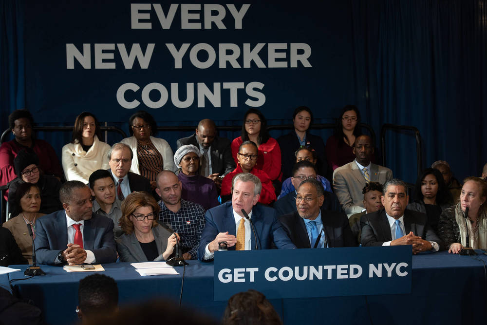 Mayor de Blasio speaks at a census event