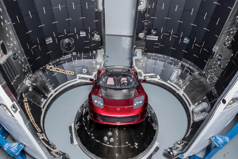 Tesla Roadster Midnight Cherry >> Largest SpaceX Rocket Takes a Stand at Florida Launch Site - A Great Big City